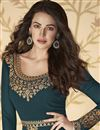 photo of Function Wear Embroidered Teal Color Floor Length Anarkali Dress In Georgette Fabric