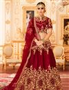 image of Best Selling Embroidered Art Silk Fancy Wedding Wear Lehenga Choli In Maroon