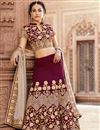 image of Wedding Special Embroidered Art Silk Wine Sangeet Wear Lehenga Choli With Party Wear Blouse