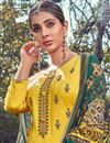 photo of Festive Wear Yellow Color Fancy Cotton Fabric Palazzo Suit