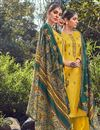 image of Festive Wear Yellow Color Fancy Cotton Fabric Palazzo Suit