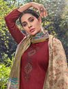 photo of Cotton Fabric Fancy Maroon Color Festive Wear Palazzo Dress