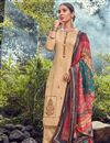 image of Festive Wear Cream Color Fancy Cotton Fabric Palazzo Suit