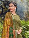 photo of Fancy Mehendi Green Color Festive Wear Cotton Fabric Palazzo Dress