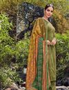 image of Festive Wear Cotton Fabric Fancy Mehendi Green Color Palazzo Suit