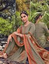 photo of Festive Wear Cotton Fabric Fancy Dark Beige Color Palazzo Suit