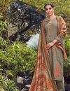 image of Festive Wear Cotton Fabric Fancy Dark Beige Color Palazzo Suit