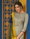 photo of Grey Color Festive Wear Embroidered Straight Cut Suit In Cotton Fabric