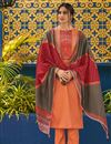 image of Festive Wear Cotton Fabric Embroidered Straight Cut Peach Color Dress