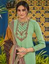 photo of Festive Wear Embroidered Straight Cut Cotton Fabric Suit In Sea Green Color