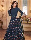 image of Navy Blue Designer Embroidered Anarkali Salwar Kameez In Georgette Fabric