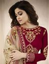 photo of Eid Special Shamita Shetty Red Georgette Party Wear Embroidered Long Length Anarkali Suit