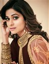 photo of Shamita Shetty Featuring Brown Embroidered Georgette Fabric Long Anarkali Salwar Suit