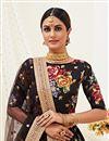 photo of Satin Silk Fabric Sangeet Wear Black Color Printed Lehenga