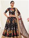 image of Satin Silk Fabric Sangeet Wear Black Color Printed Lehenga