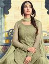 picture of Ready To Ship Sonal Chauhan Khaki Color Net Occasion Wear Embroidered Palazzo Suit