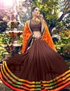 image of Orange-Brown Party Wear Fancy Print Georgette Sari