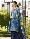 image of Crepe Fabric Navy Blue Embroidered Palazzo Suit