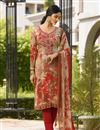image of Crepe Fabric Party Wear Straight Cut Salwar Suit In Red With Embroidery Work