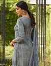photo of Embellished Crepe Fabric Designer Party Wear Straight Cut Suit In Grey Color