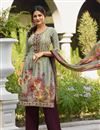 image of Occasion Wear Dark Beige Embroidered Palazzo Suit In Crepe Fabric