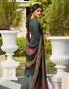 photo of Embroidery Work On Dark Grey Color Party Wear Palazzo Suit In Crepe Fabric