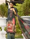 image of Embroidery Work On Dark Grey Color Party Wear Palazzo Suit In Crepe Fabric