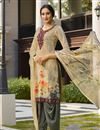 image of Occasion Wear Cream Color Patiala Salwar Kameez In Crepe Fabric