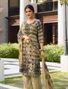 image of Cream Color Crepe Fabric Occasion Wear Palazzo Suit With Embroidery Work
