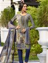 image of Party Wear Embroidered Straight Cut Suit In Crepe Fabric