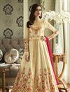 image of Beige Fancy Embroidered Festive Wear Anarkali Dress In Georgette