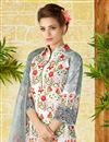 photo of Lawn Cotton Off White Color Straight Cut Printed Punjabi Suit