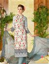 image of Lawn Cotton Off White Color Straight Cut Printed Punjabi Suit