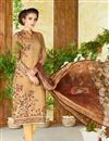 image of Cotton Beige Color Straight Cut Printed Punjabi Suit