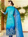 photo of Lawn Cotton Printed Straight Cut Cyan Color Punjabi Salwar Suit