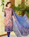 image of Lawn Cotton Peach Color Straight Cut Printed Punjabi Suit
