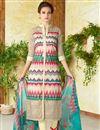 image of Cream Color  Lawn Cotton Straight Cut Casual Printed Punjabi Dress