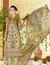 image of Lawn Cotton Straight Cut Beige Color Printed Casual Punjabi Salwar Kameez