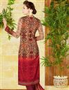 photo of Lawn Cotton Red And Beige Color Printed Casual Straight Cut Punjabi Suit