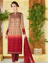 image of Lawn Cotton Red And Beige Color Printed Casual Straight Cut Punjabi Suit