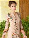 photo of Lawn Cotton Peach Color Printed Casual Straight Cut Punjabi Suit