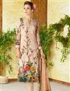 image of Ready To Ship Printed Lawn Cotton Peach Color Straight Cut Casual Wear Punjabi Dress
