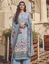 image of Festive Wear Light Cyan Color Viscose Fabric Elegant Printed Salwar Kameez