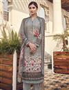 image of Viscose Fabric Festive Wear Elegant Printed Salwar Suit In Grey Color