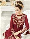 photo of Maroon Color Georgette And Net Designer Long Length Party Wear Anarkali Salwar Suit