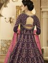 photo of Art Silk Designer Embroidered Floor Length Anarkali Salwar Suit In Dark Purple