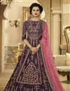 image of Art Silk Designer Embroidered Floor Length Anarkali Salwar Suit In Dark Purple