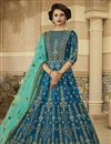 image of Sky Blue Art Silk Festive Wear Floor Length Anarkali Suit With Embroidery Designs