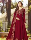 image of Georgette Function Wear Long Floor Length Red Anarkali Salwar Suit