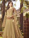 image of Designer Georgette Long Floor Length Party Wear Anarkali Suit In Beige